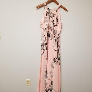 Eliza J Pink Floral Halter Maxi Dress 8P